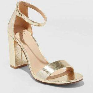 A New Day Ema High Block Heel Pumps in Gold